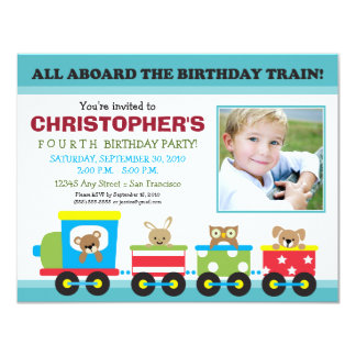 All Aboard Train Boy's Birthday Invitation (aqua)