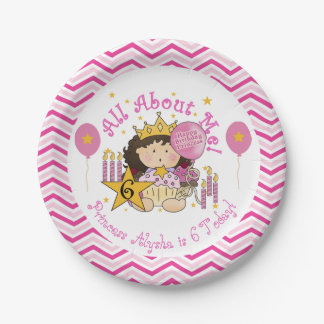 All About Me Princess 6th Birthday Paper Plates 7 Inch Paper Plate