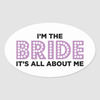 All About the Bride Purple Oval Sticker