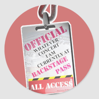 All Access Backstage Pass Round Sticker