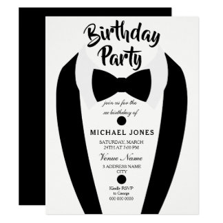 All age Mens Tuxedo Bow Tie Birthday Party Invite