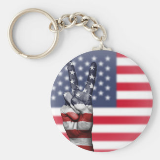 All American Basic Round Button Key Ring