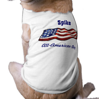 All American Dog Patriotic Personalized Name Sleeveless Dog Shirt