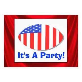 All American Football Patriotic Party Invitation