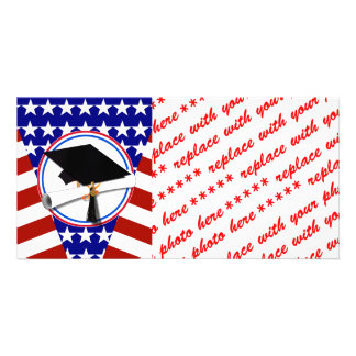 All American Grad - Red White & Blue on Stars Photo Cards