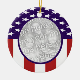 All-American Stars and Stripes Custom Photo Ceramic Ornament