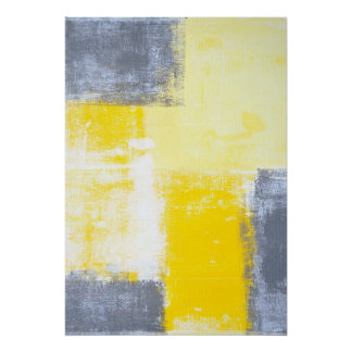 'All Angles' Grey and Yellow Abstract Art Poster