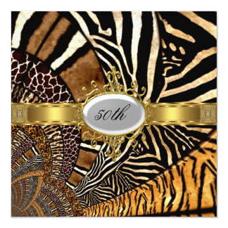 All Animal Skin Look 50th Birthday Party 13 Cm X 13 Cm Square Invitation Card