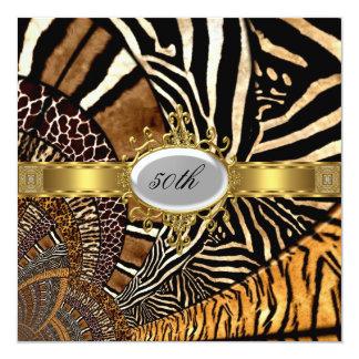 All Animal Skin Look 50th Birthday Party 13 Cm X 13 Cm Square Invitation Card