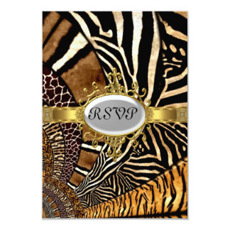 All Animal Skin look Birthday Party RSVP 9 Cm X 13 Cm Invitation Card