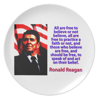 All Are Free To Believe - Ronald Reagan Party Plates