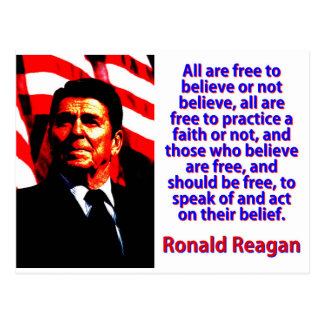 All Are Free To Believe - Ronald Reagan Postcard