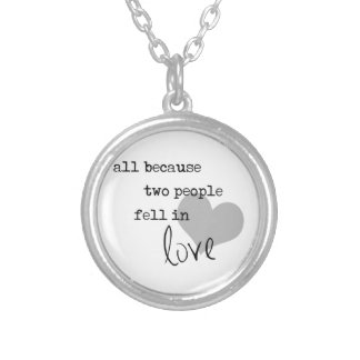 all because two people fell in love modern simple round pendant necklace