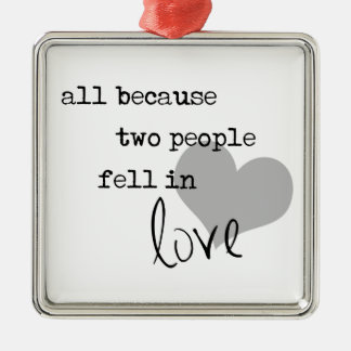 all because two people fell in love modern simple Silver-Colored square decoration