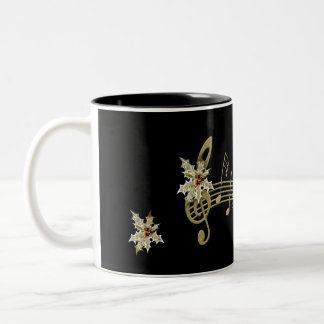 All Black Musical Note and Holly Christmas Coffee Two-Tone Coffee Mug