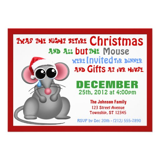 All but the Mouse - Christmas Dinner Invitations