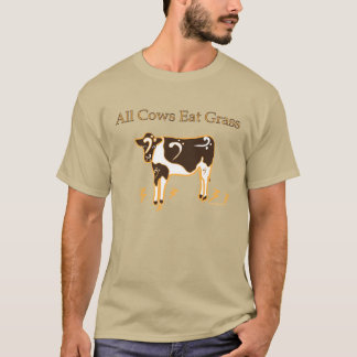 All Cows Eat Grass Bass Clef Pride! T-Shirt
