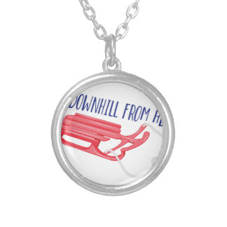 All Downhill Silver Plated Necklace