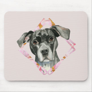 """All Ears"" 2 Black Pit Bull Dog Illustration Mouse Pad"