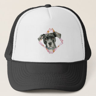 """All Ears"" 2 Black Pit Bull Dog Illustration Trucker Hat"