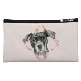 """All Ears"" 2 Pit Bull Dog Watercolor Painting Cosmetic Bag"