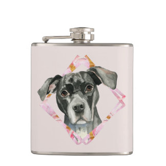 """""""All Ears"""" 2 Pit Bull Dog Watercolor Painting Hip Flask"""
