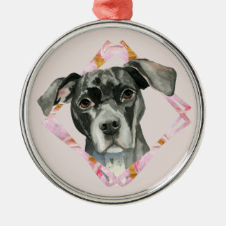 """All Ears"" 2 Pit Bull Dog Watercolor Painting Metal Ornament"