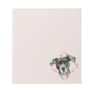 """""""All Ears"""" 2 Pit Bull Dog Watercolor Painting Notepad"""