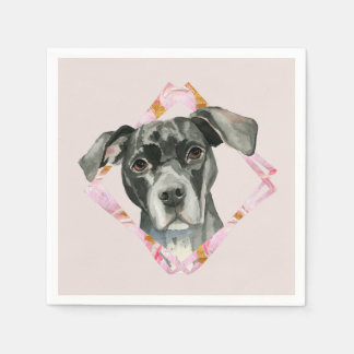 """All Ears"" 2 Pit Bull Dog Watercolor Painting Paper Serviettes"