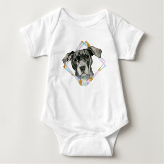"""""""All Ears"""" Pit Bull Dog Watercolor Painting Baby Bodysuit"""