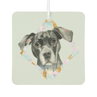 """All Ears"" Pit Bull Dog Watercolor Painting Car Air Freshener"