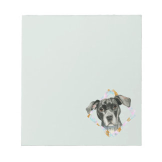 """""""All Ears"""" Pit Bull Dog Watercolor Painting Notepad"""