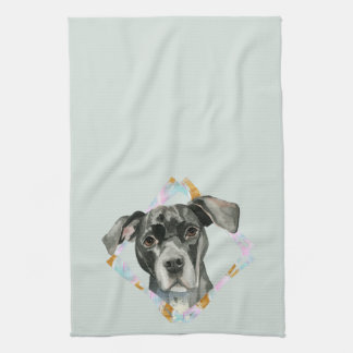"""All Ears"" Pit Bull Dog Watercolor Painting Tea Towel"