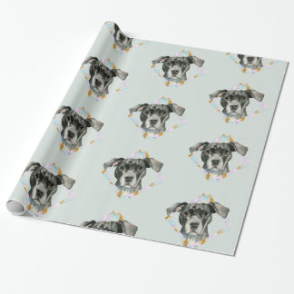 """""""All Ears"""" Pit Bull Dog Watercolor Painting Wrapping Paper"""