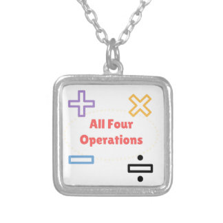 All Four Operations Silver Plated Necklace