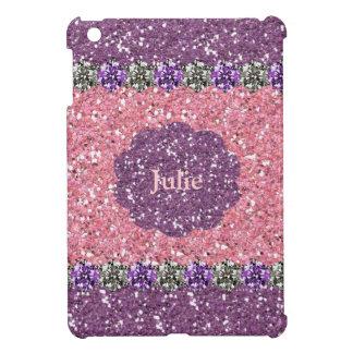 All Girl Pink Purple Glitter Gem Look Personalised iPad Mini Covers
