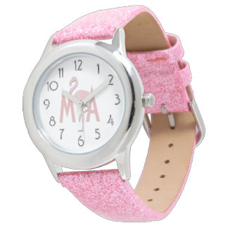 All Glitter Pink Flamingo Add Initials Watch