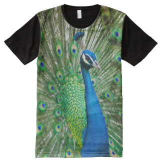 All God's Creatures Peacock Print All-Over Print T-Shirt