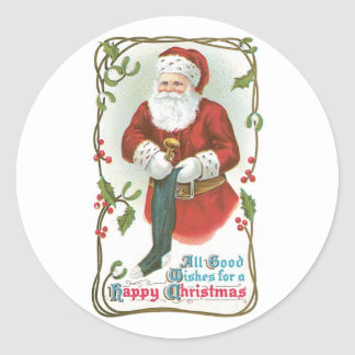 All Good Wishes for a Happy Christmas Round Sticker
