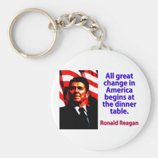 All Great Change In America - Ronald Reagan Key Ring