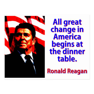 All Great Change In America - Ronald Reagan Postcard