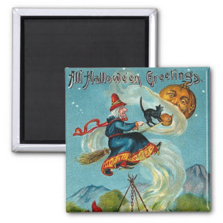 All Halloween Greetings Flying Witch Magnet