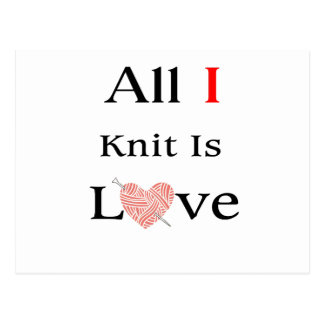 All I Knit Is Love Postcard