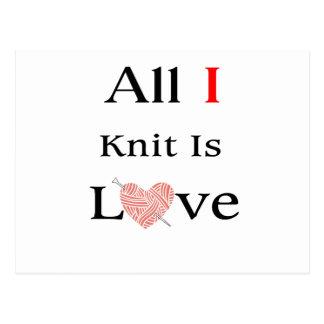 All I Knit Is Love Postcard