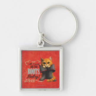 All I Need Are The Boots (color) Silver-Colored Square Key Ring