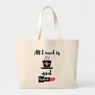 All I Need is Coffee and Lipstick Tote Jumbo Tote Bag