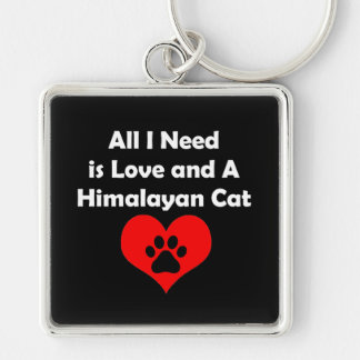 All I Need is Love and A Himalayan Cat Silver-Colored Square Key Ring
