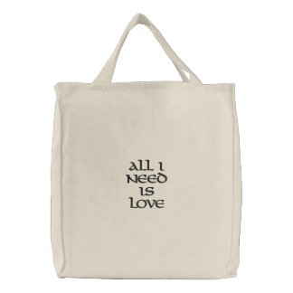 All I need is Love Embroidered Bags
