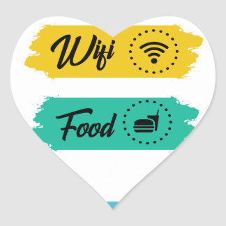 All I Need Is Wifi Food & My Bed Funny Heart Sticker