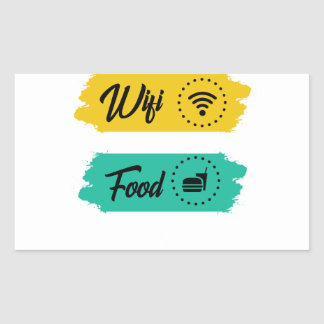 All I Need Is Wifi Food & My Bed Funny Rectangular Sticker